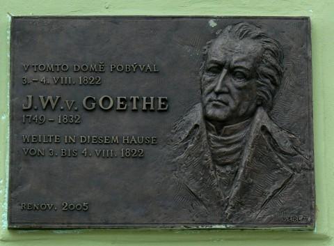 Pamětní deska věnovaná vzpomínce osobě J.W.Goetheho